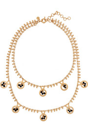 Dangling gold-plated crystal necklace