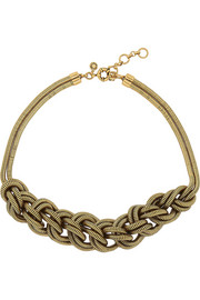 Braided gold-tone necklace