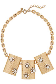 J.Crew Floral Shield gold-plated crystal necklace