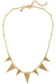 Triangle gold-plated, crystal and fossilized coral necklace