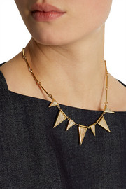 J.Crew Triangle gold-plated, crystal and fossilized coral necklace