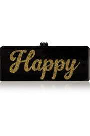 Flavia Happy glittered acrylic box clutch