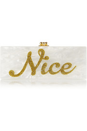 Flavia Naughty/ Nice glittered acrylic box clutch