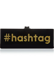 Edie Parker Flavia #Hashtag glittered acrylic box clutch