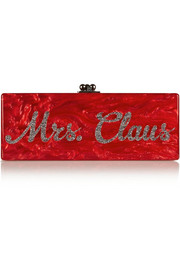Edie Parker Flavia Mrs. Claus glittered acrylic box clutch
