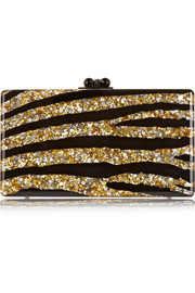 Jean Zebra glittered acrylic box clutch