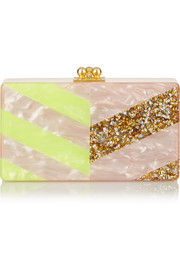 Jean Diagonals striped acrylic box clutch