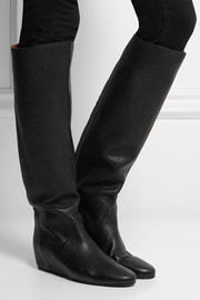 Textured-leather wedge knee boots