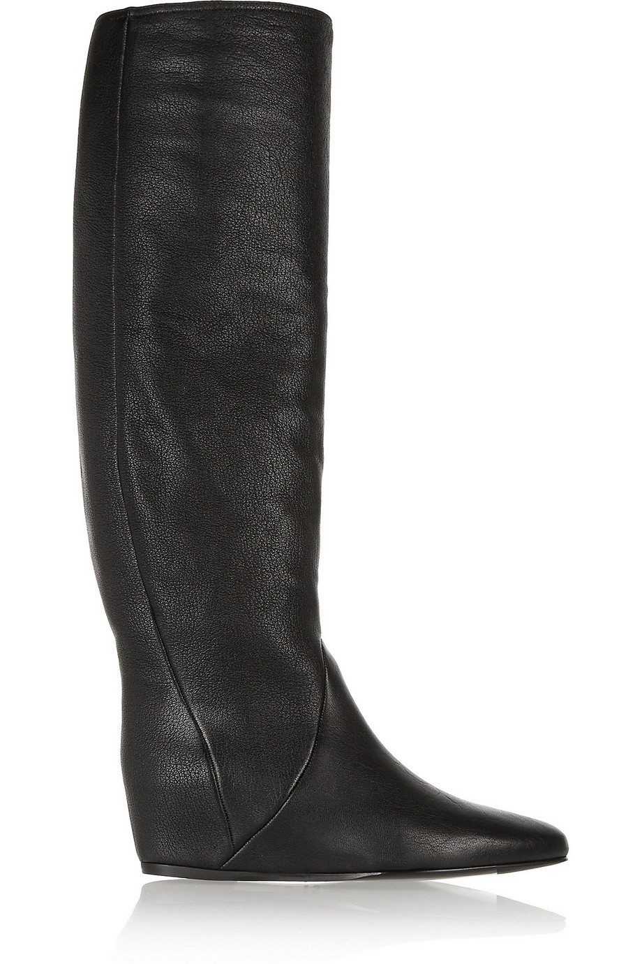Lanvin Textured-Leather Wedge Knee Boots, Black, Women's US Size: 4.5, Size: 35
