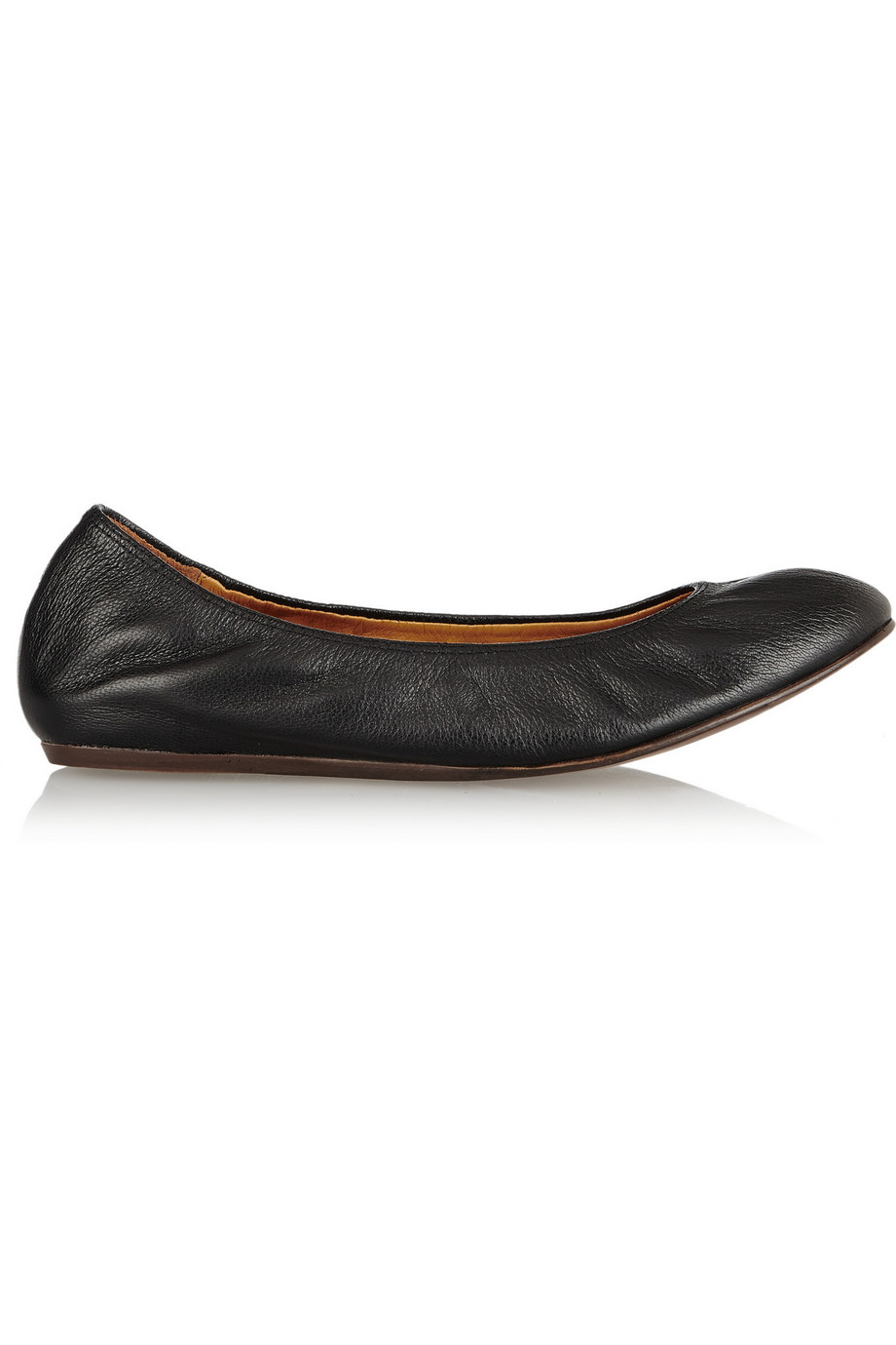 Lanvin Leather Ballet Flats, Black, Women's US Size: 7.5, Size: 38
