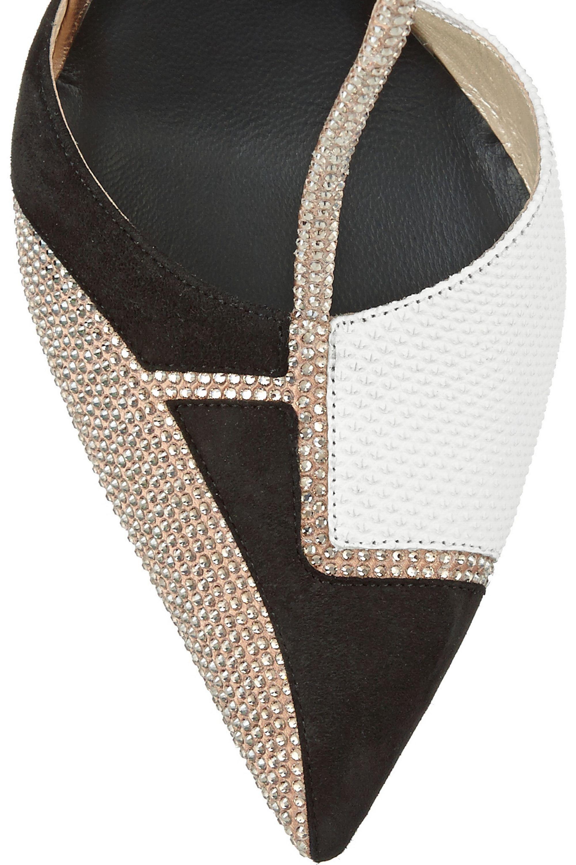 René Caovilla Swarovski crystal-embellished karung and suede T-bar pumps