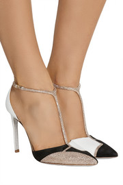 René Caovilla Swarovski crystal-embellished karung and suede T-bar pumps