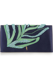 Venus embroidered silk-satin and leather clutch