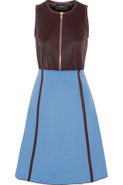 Pleated leather and wool-blend dress