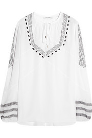 Altuzarra Embroidered silk crepe de chine blouse