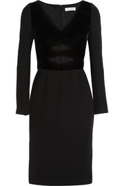 Amindra cutout velvet-trimmed crepe dress