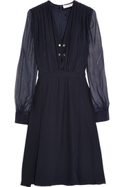 Chiffon-trimmed silk dress