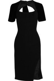 Angelina velvet-trimmed crepe dress