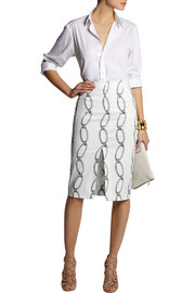 Altuzarra Printed stretch-cotton pencil skirt