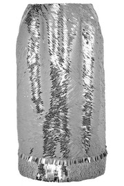 Metallic sequined silk-crepe skirt