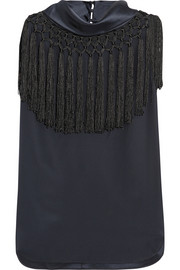 Calypson fringed silk top