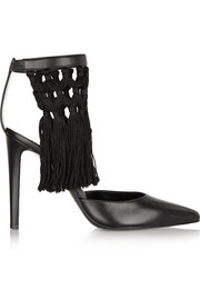Triton fringed leather pumps