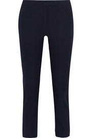 Cropped stretch-gabardine slim-fit pants