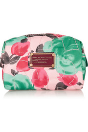Printed satin-twill cosmetics case