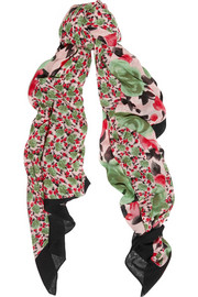 Spliced Jerrie Rose printed voile scarf