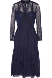 Burberry Prorsum Striped wool and silk-blend midi dress