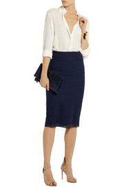 Wool and silk-blend midi skirt