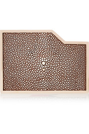 Lee Savage Negative Space rose gold-tone, stingray and leather box clutch