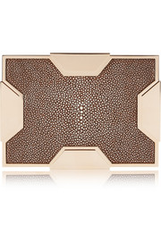 Space large rose gold-tone and stingray box clutch