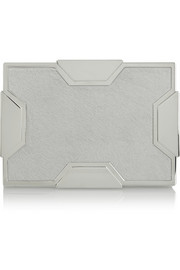 Lee Savage Space small silver-tone and calf hair box clutch
