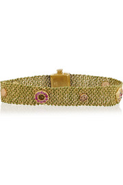 18-karat gold, silk, diamond and sapphire bracelet