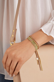 Carolina Bucci 18-karat gold, silk, diamond and sapphire bracelet