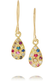 18-karat gold multi-stone drop earrings