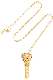 18-karat gold, diamond and sapphire necklace