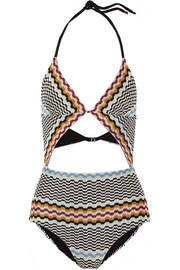 Cutout crochet-knit swimsuit