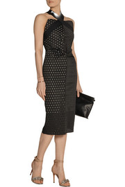 Roland Mouret Ponwall laser-cut stretch-cotton twill and jersey dress