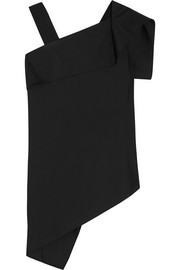 Roland Mouret Asymmetric draped stretch cotton-blend top