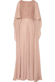 Embellished belted silk gown