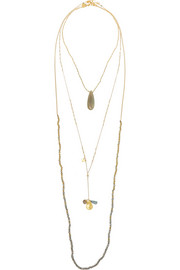 Set of three gold-plated, chalcedony, laboradite and crystal necklaces