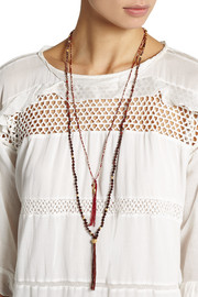 Chan Luu Set of two gold-plated multi-stone beaded necklaces
