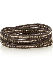 Chan Luu Silver-plated, pyrite, Swarovski crystal and leather wrap bracelet