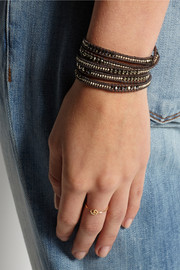 Silver-plated, pyrite, Swarovski crystal and leather wrap bracelet