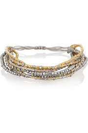 Chan Luu Gold-plated bead, crystal and satin bracelet