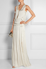 Tiered satin column gown