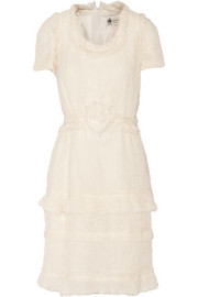 Tiered crinkled silk-chiffon dress