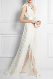 Pleated silk-blend tulle gown